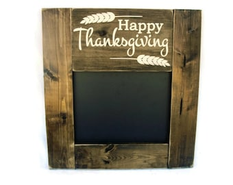 Thanksgiving Menu Chalkboard Rustic Wood Framed Wall Decor (#1215-CB)
