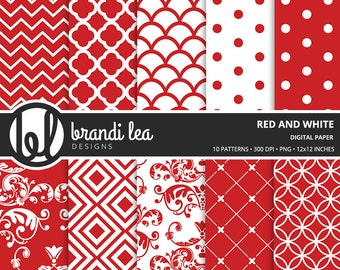 Red and White Digital Paper - Digital Download - 300 DPI - 12x12 Inches - PNG
