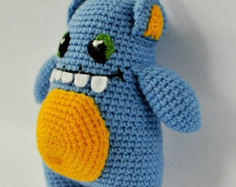 Crochet Blue monster with yellow belly. FREE SHIPPING.