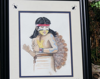 Navajoboy painting,Indianboy painting,Watercolor painting,Indiandancerpainting,Navajo painting,