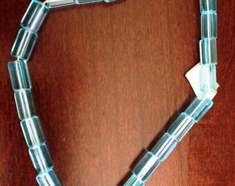 Vintage Transparent Aqua Polygon Czech Pressed Glass Beads (Approx. 25 beads)