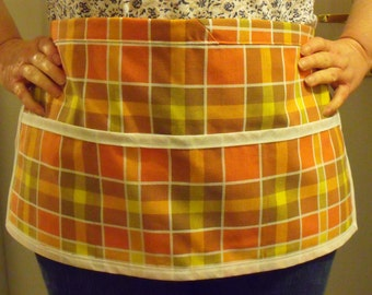 half pinny, gardening apron, Utility pinny, checked cotton apron, gingham apron, terracotta fabric