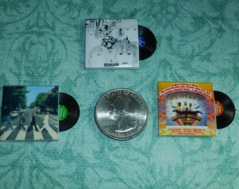 THE Bs Dollhouse Miniature Record Albums, Set of Three with Plastic Records!