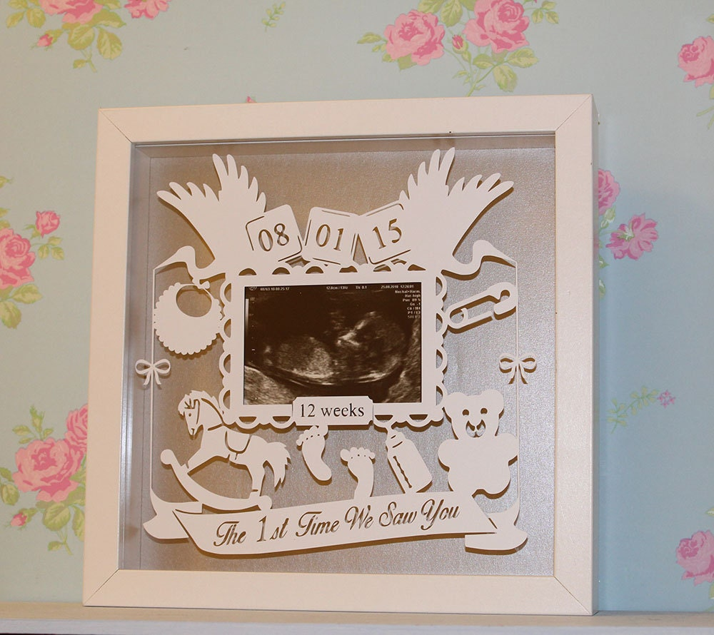 Scan Design Wall Art : Shadow framed baby scan floating paper cut laser