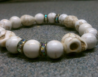 BONE YARD v1.1: Beaded Women's Bracelet (10mm White Howlite | Howlite Skull | Antique AB Crystal Spacer)