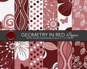 "Digital paper: ""Geometry in Red"" Red / Rosa / White tones canvas textures with floral an geometry"