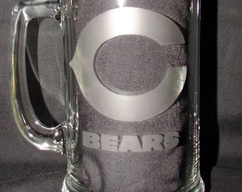 NFL Chicago Bears Logo Hand Etched on 15 ounce Beer Mug
