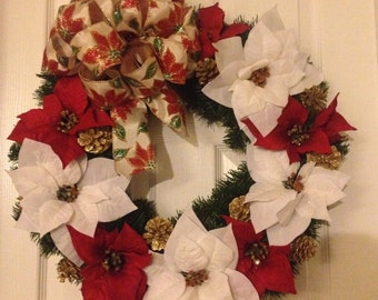 Red and White Poinsettia Christmas Wreath