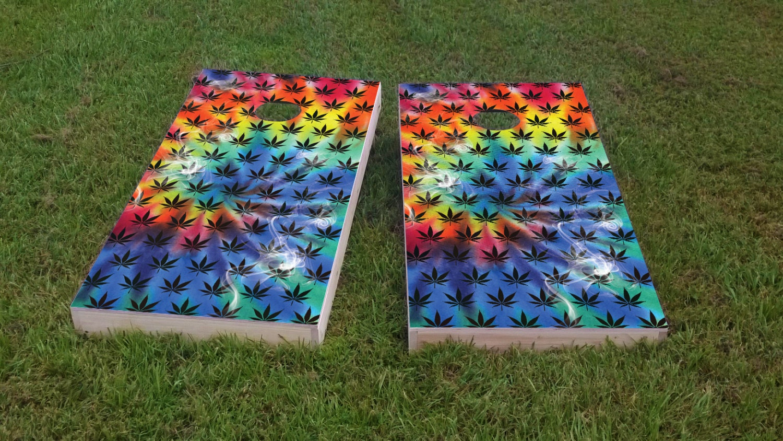 Hippie Tie-Dye Marijuana Themed 2x4 Custom Cornhole Board Set