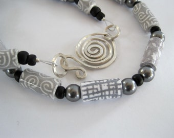 Shades of Gray Paper Bead Necklace