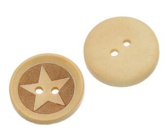 "100PCs Natural Wood Hollow Buttons 2 Holes 20mm( 6/8"") B80113"