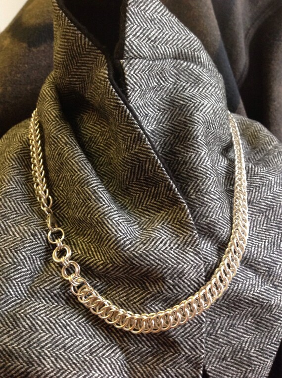 Sterling Silver heavy chain necklace (half persian 4-in-1)