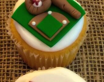 Baseball Cupcake Toppers - 1 Dozen