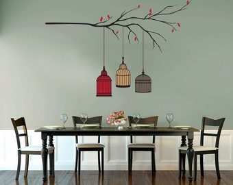 Bird Cage Tree Branch Decal - Custom Wall Decal for Living Room or Dining Room, Wall Decor
