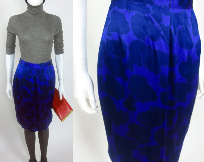 80s Louis Feraud abstract floral printed avant garde designer skirt