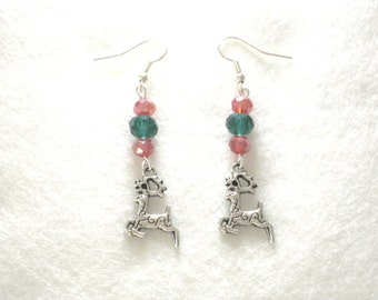 Red Earrings, Christmas Earrings, Reindeer Earrings, Winter Earrings, Holiday Earrings, Stocking Filler