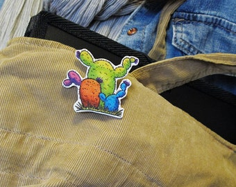 Cactus pictures as a magnet, brooch or keychain