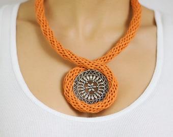 Orange Necklace, Tubular Knitted Necklace, Chunky orange necklace, colourful necklace, bright necklace, bold necklace