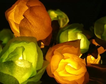 String Lights of 50 Roses - Flower String Lights - Party Fairy Lights - Green Yellow - Bedroom Lighting - Handmade Lights - NajaKonicaSan
