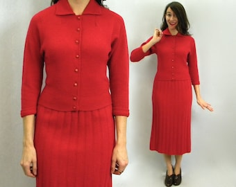 40s Red Knit Cardigan & Skirt   Pure Wool   Barbara Carol New York   Medium