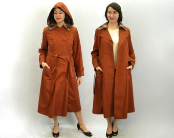 Vintage 70s Rust Brown Trench Coat | Long Rain Coat, Medium