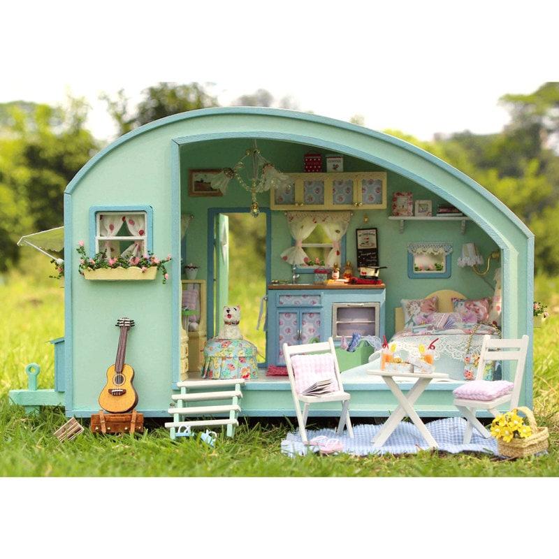 Dollhouse Miniatures Diy: DIY Dollhouse Miniature Traveller Time Dollhouse Kit Handcraft