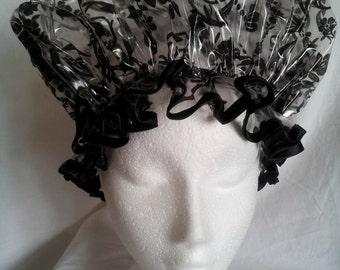 Black Damask Shower Caps
