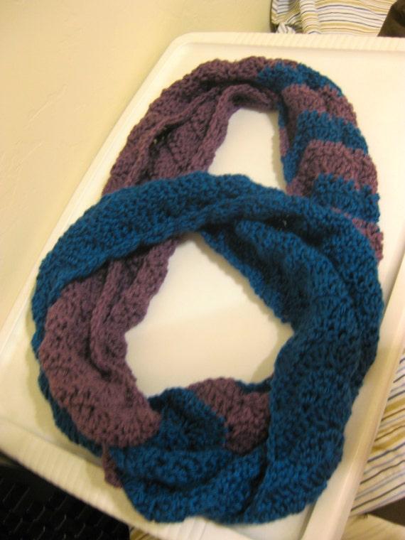 Crochet 2 Tone Chevron Infinity Scarf