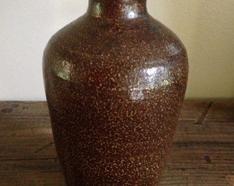 Antique Primitive Salt Glaze Brown Pottery Vase M480-3