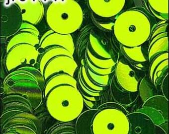Metallic Lime Green Flat Sequins 6mm - JR01447