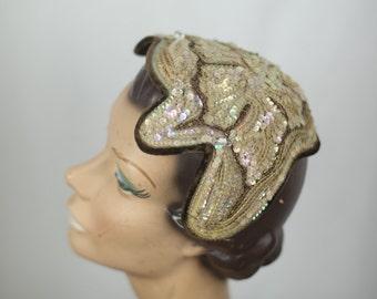 Vintage 1920s Hat / Velvet and Sequined 20s Headpiece