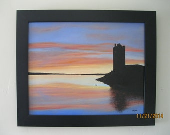 Oil Painting of Dunguaire Castle at Sunset, Ireland, Nicely Framed
