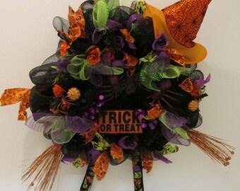 Large Deco Mesh Halloween Wreath