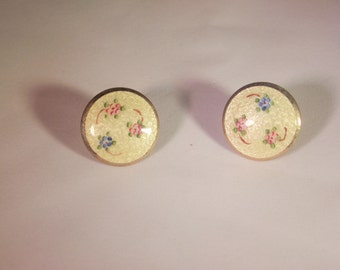 Pair of enameled Guilloche and goldtone screw back earrings 1960's