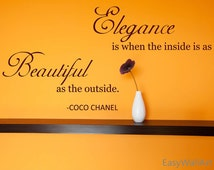 Coco Chanel Quote, Coco Chanel Wall Quote Decal, Vinyl Coco Chanel Wall Art Decor for Living room, Bedroom, Wall Lettering Stickers #Q21