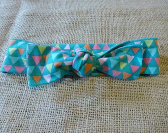 turquoise and triangles soft baby headwrap / headband