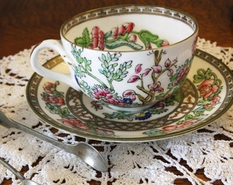 Antique Victorian Coalport Indian Tree china cup and saucer - beautiful handpainted design