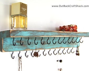 Distressed Wood Jewelry Holder: Rustic Decor - Teal w/25 Black Hooks; Rustic Decor Necklace Organizer; Great Gift for Women and Girls!