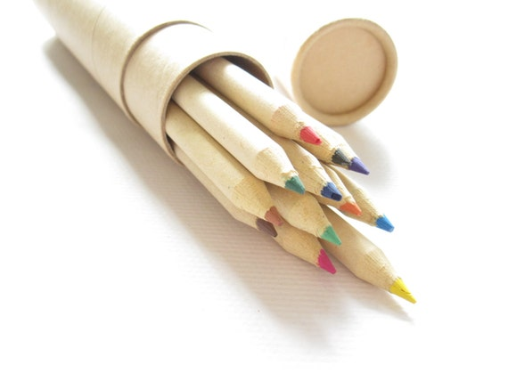 Set of 12 Eco Friendly Kraft Paper Coloring Pencil Set 。 Recycle Paper Pencils Set 。 Reusable Kraft Pencil Case 。 12 Colors Pencial