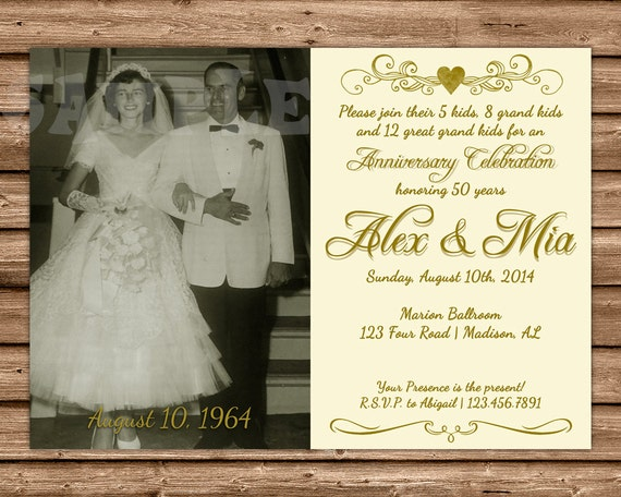 50th Wedding Anniversary Gifts Diy : ... Anniversary Invitation - 50th Anniversary Ideas - DIY 50th Wedding