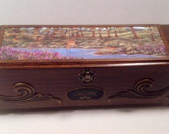Deer painting, wooden wine box, keepsake box, wedding wine box, wine ceremony box, engraved box, wooden box, gift box, custom wine box