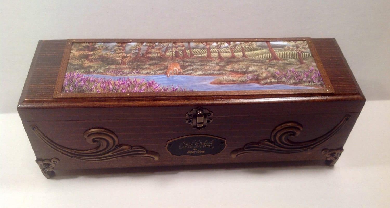 Wooden Wine Box Wedding Gift : Deer painting wooden wine box keepsake box wedding wine