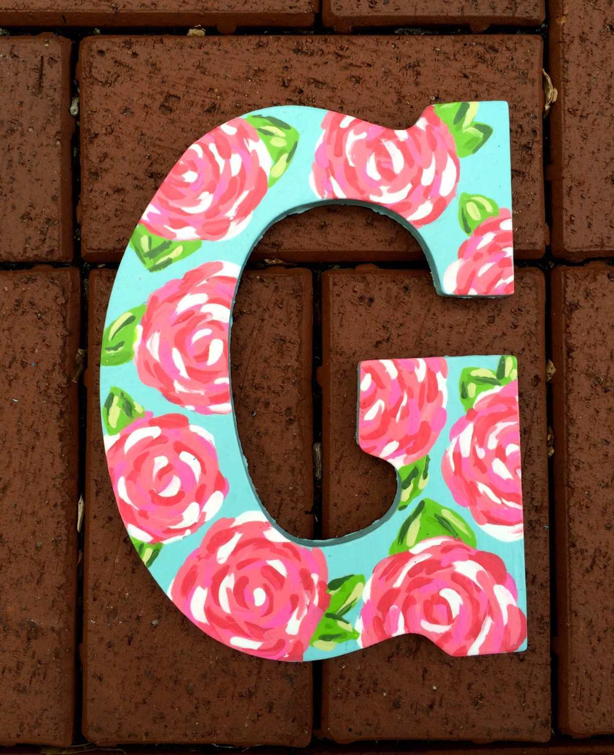 Hand Painted Lilly Pulitzer Inspired Wooden Monogram Letter