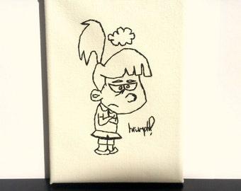 4x7 Embroidered canvas , grumpy girl meme , framed canvas , embroidered wall art , bad day meme , grumpy saying , cross stitch .  wall art