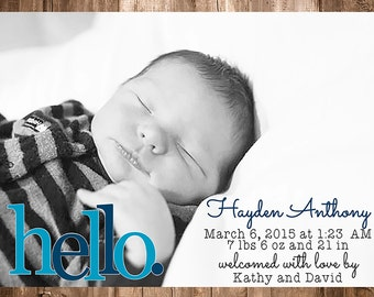 Hello Birth Announcement Baby Boy