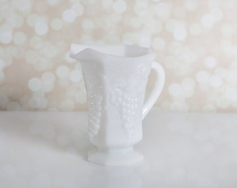 Milk Glass Pitcher - Opaque Harvest Grape Design