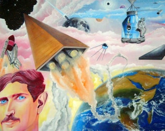 Tesla and the Space Race - 24x18 Oil on Canvas Original Painting, Cosmic Art, Space Art, Religious Art, Zen, Stars, Ancient Aliens