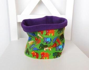tube scarf elephants,child, purple fleece, winter sports,green,jersey,winter
