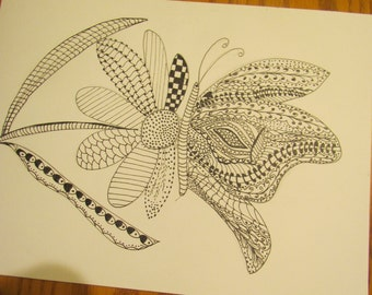 butterfly  drawing black ink, single, ready for framing, frame not included