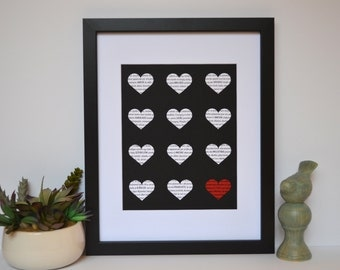 Love in Different Languages- Engagement Gift, Unique Home Decor, Black and White, 1st Anniversary, Modern Home Decor, Hearts